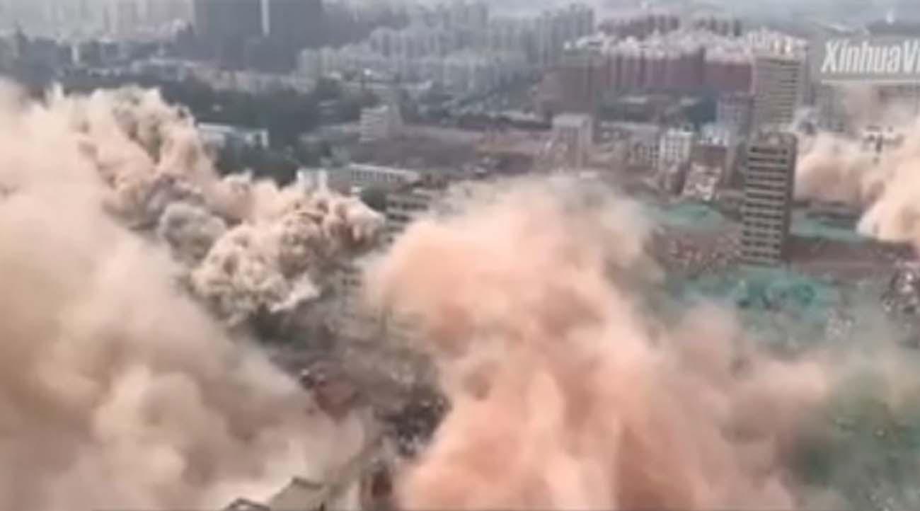 สุดทึ่ง!! 20 วิแห่งความพินาศ จีนระเบิดตึกครั้งใหญ่พร้อมกัน 36 แห่ง